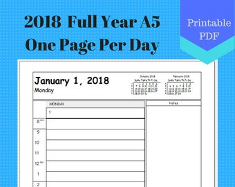 2018 A5 Full Year One Page Per Day, Daily Calendar Pages 365, Planner Insert, Discbound, Jr, Half