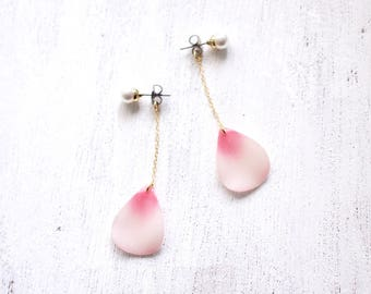 Cherry Blossom Petal Earrings with pearl, 14K gold filled chain [Pierced or Clip-on]