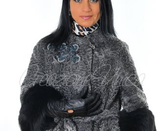 Designer Persianer jacket with fox fur Broadtail for jacket with Fox Pelliccia Astrakhan Volpe, veste de fourrure Renard, Chaqueta de la Piel