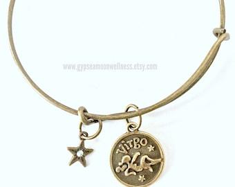 Practical Virgo Zodiac Bronze Adjustable Bangle Charm Bracelet Double Sided Astrology Charm Star Signs Handmade Jewelry Free Shipping