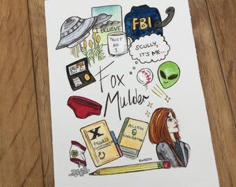 Fox Mulder Moodboard - Illustration