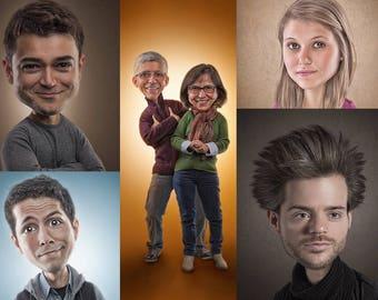 Photo Caricature, Custom digital caricature from photograph, custom cartoon, digital cartoon portrait, photo manipulation, child face | SALE