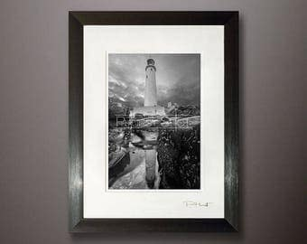 Seascape framed print, Black white Lighthouse photo, fine art image, Whitley Bay, North East Seascape, water reflection, rock pool shot