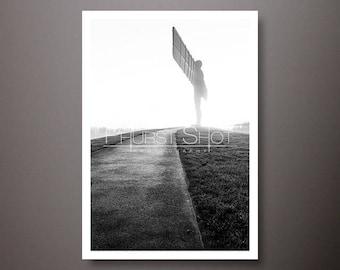 Angel of the north Print, Black white photo print, Landscape image, Fine art photography, silhouette prints, black white fine art print