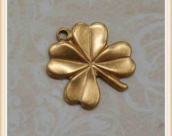 12 pieces raw brass 4 leaf clover lucky shamrock charm stamping finding, embellishment #1439
