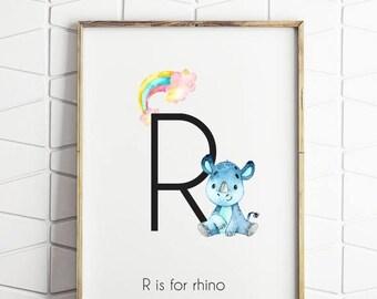 70% OFF SALE R is for rhino print, rhinoceros print, rhino print, safari print printable, printable wall art, rhino art print