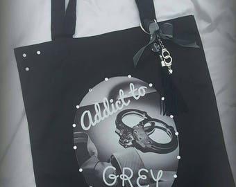"Bag / shopping bag ""Addict To Grey"" Fifty shades"