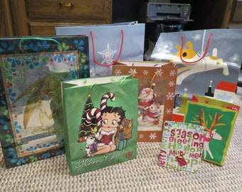 Christmas Gift Bags Sacks Assorted Festive Holiday Coated Paper Bags Lot of 7