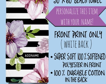 Personalized Beach Towel,Floral Beach Towels,Custom Name Towels,Monogrammed Towels,Elegant Black And White Stripes With Flowers Beach Towel