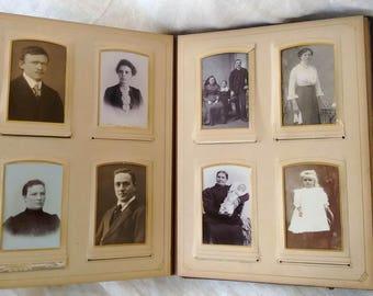 Vintage photo album with 68 photos - CDV - cabinet cards - old photo album - Cabinet photos!