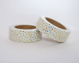 Foil Washi Tape, masking tape white with gold dots - Christmas gift - packaging - decoration - wedding