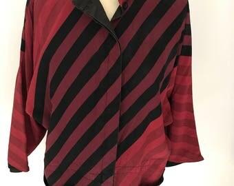 Vintage 1980s red silk striped sports jacket