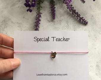 Special Teacher gift, teacher wish bracelet, best teacher gift, teacher christmas gift, special teacher, teacher end if term gift.