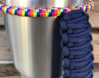 Rainbow Bungee with Navy Handle for Tumblers, Tumbler Handle, Paracord Handle, Fits Yeti, Ozark, RTIC and other 20oz/30oz/40oz Tumblers