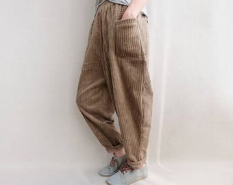 Women Corduroy Pants Elastic Waist Zen Pants Harem Pants, Autumn Trousers, Yoga Pants, Casual Wide Leg Pants