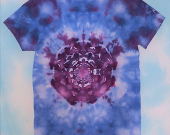 Adult Small Blue and Purple Snowflake and Marbled Ice Dyed Tie Dye T-shirt