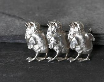 Antique Edwardian Silver Chicks Brooch, three little chickens