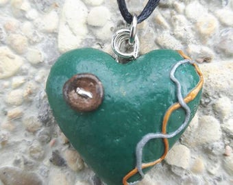 Green button Heart Necklace polymer clay