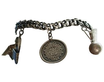 1940s Retro Vintage Sterling Silver Mexican Charm Bracelet, VJ #693A