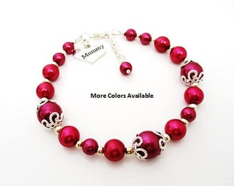 Custom Color Mommy Pearl & Charm Bracelet-Mommy jewelry-Mommy gifts-Mommy bracelets-Mommy-Mother's Day gift-Mommy birthday gifts, B1514