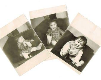 Soviet Vintage Photo: Happy Girl, Playful Child, Little Princess, Old Russia Photo, Retro Black and White Photo, 1950s, White Border Around