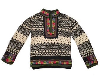 Vintage One-of-a-Kind Hand-Knit Black & Off-White 100% Heavy Wool Nordic/ Alpine Ski Sweater w/ Multicolor Boiled Wool/ Felted Floral Trim