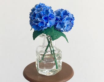 Dollhouse Miniature Blue Hydrangeas in Vase Artist Made