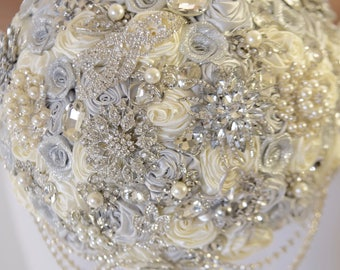 "Full Price !!!Ready to Ship 10"" Stunning Bling Diamond Satin Rose Custom Brooch Bouquet Plus Combo Bridesmaid Bouquet Corsage Boutonniere"