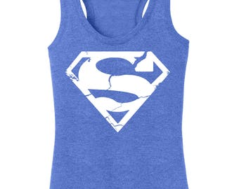 Women's Superman Distressed Racerback Tanktop