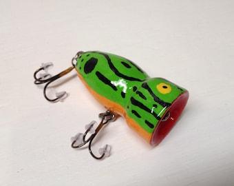 "Fishing Lure, Bass Lure,  Topwater Lure, Handcrafted, handpainted, custom 1"" X 2"" bass popper fishing lure"