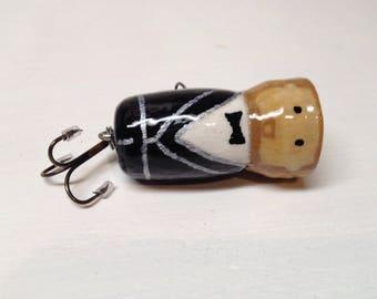 Fishing Lure, Groomsman Gift, Handcrafted, handpainted, custom Groomsman bass popper fishing lure