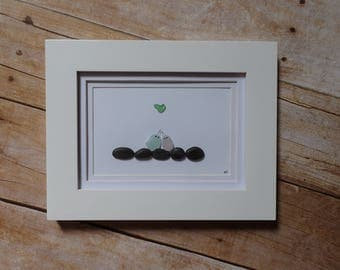 Sea glass love birds / Sea glass heart / Pebble art picture / Wedding art / Anniversary art / Engagement gift idea / Scotia glass sea glass