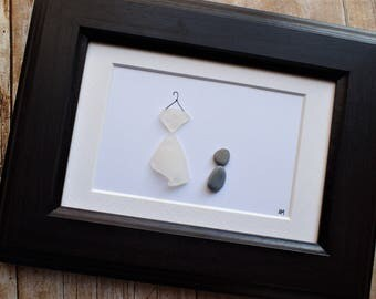 Wedding dress sea glass and pebble art picture / Wedding dress hanger / Bride gift / Bride dress / Gift idea for bride / Newly engaged