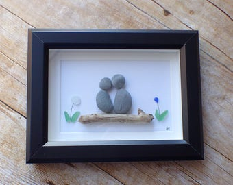 Unique engagement gift for couple / Sea glass art picture / Pebble art picture / Beach decor / Beach house wall art / Couples gift idea