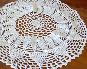 Round crochet doilie, 11 inch, centerpiece, mid-century.