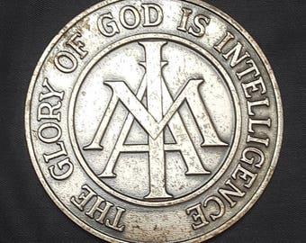1959 Balfour LDS YMMIA Young Mens Mutual Improvement  Association Coin Medal Award The Glory of God Is Intelligence 3 Inch Vintage Mormon