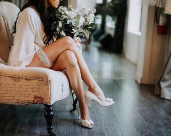 Wedding Garter Set NO SLIP grip vintage rhinestones, bridal garter set