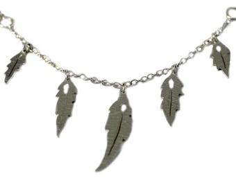 Silver multi leaf necklace