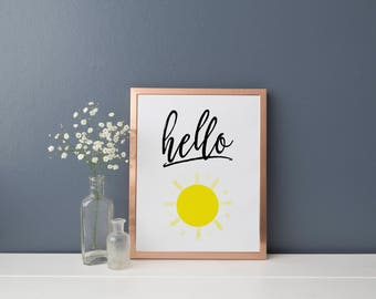 Hello Sunshine Printable, Instant Download