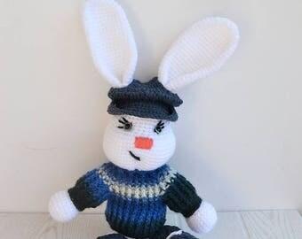 white bunny, Crochet bunny boy, bunny Nursery decor, Baby gift, Soft Baby toy, bunny stuffed animal, bunny amigurumi, white crochet rabbit