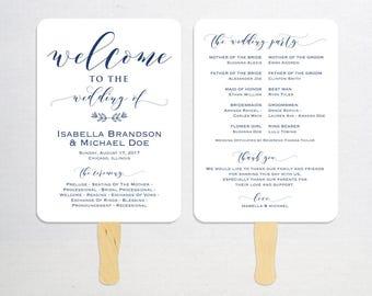 Navy Blue Wedding Program Template, Printable Program, Wedding Fan, DIY Wedding Program, Fan Program, Program Template, Rustic, WPC_1166