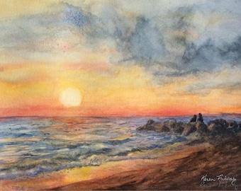 Sunset Beach (Giclée  print of original watercolor)