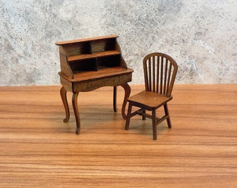 Dollhouse Miniature Furniture in half scale; 1:24 scale.  Desk with chair.  Item #372.
