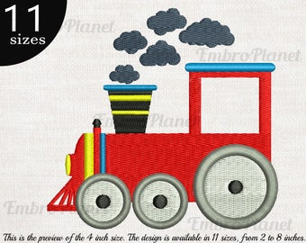 Train - Design for Embroidery Machine Digital Graphic Filled Stitch File Instant Download Commercial Use vintage steam locomotive red 60e
