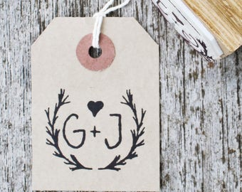 Wreath monogram stamp, wedding monogram stamp, wedding stamp, vintage wedding stamp, garland stamp, custom initials stamp, initials stamp