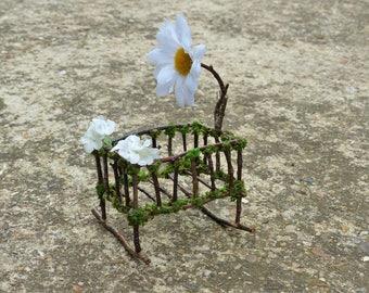 Miniature Baby Crib - Fairy Babies, Mini Baby, Dollhouse Babies, Fairy Furniture, Faerie Miniatures, Gift for Women, Fairies, Baby Shower