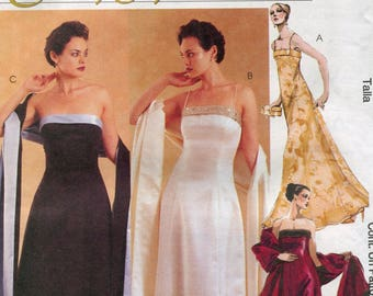 McCall's 2954, Evening Elegance, Women's/Petite Lined Dresses and Stole, Sizes 8, 10, 12, UNCUT, 2000