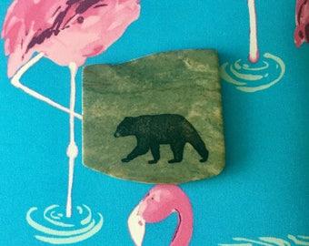 Natural Stone Coaster - Black Bear