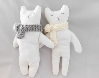 Stuffed toys- Plush cat toys- Cat toy with knitted scarf-  Soft toys-  Cat softies - Cat Birthday -Plush Christmas gift