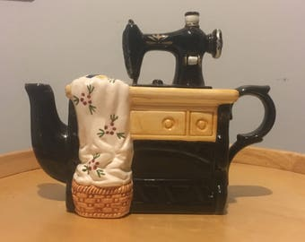 Sewing Machine Teapot Ceramic Hand Painted Teapot, Novelty Teapot